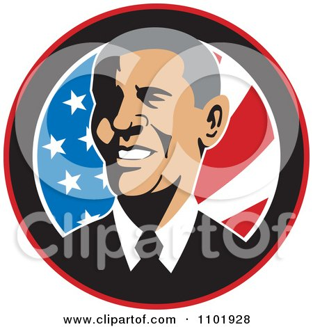 Clipart Barack Obama American President Over Stars And Stripes - Royalty Free Vector Illustration by patrimonio