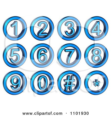 Clipart 3d Blue Metal Number Buttons - Royalty Free CGI Illustration by stockillustrations