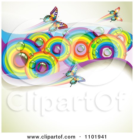 Clipart Spring Butterfly Background With Dewy Rainbow ...