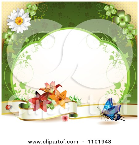 Clipart Butterfly Background With A Blank Banner Vine Frame And Flowers Over Green - Royalty Free Vector Illustration by merlinul