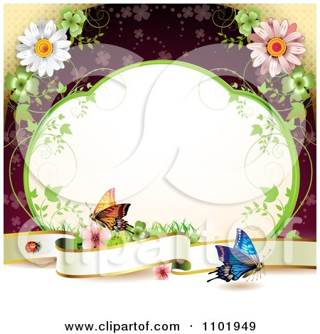 Clipart Butterfly Background With A Blank Banner Vine Frame And Flowers Over Red - Royalty Free Vector Illustration by merlinul