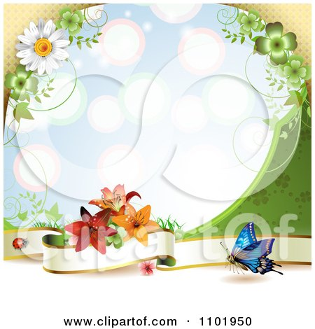 Clipart Butterfly Background With A Blank Banner And Flowers Over Blue - Royalty Free Vector Illustration by merlinul
