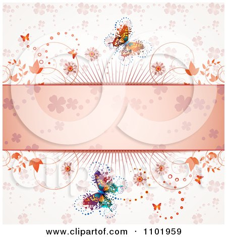 Clipart Spring Butterfly Background With A Pink Clover Text Bar - Royalty Free Vector Illustration by merlinul