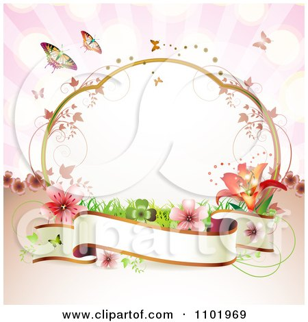 Clipart Blank Banner With A Frame Flowers And Butterflies On Pink - Royalty Free Vector Illustration by merlinul