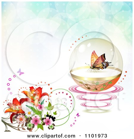 Clipart Butterfly In A Protective Sphere With Flowers On Flares - Royalty Free Vector Illustration by merlinul