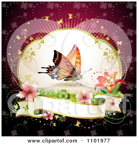 Clipart Butterfly With Flowers And A Blank Banner - Royalty Free Vector Illustration by merlinul