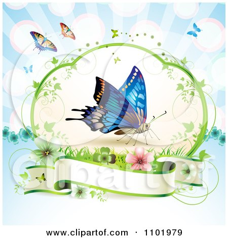 Clipart Blue Butterfly Over A Blank Banner Against Blue - Royalty Free Vector Illustration by merlinul
