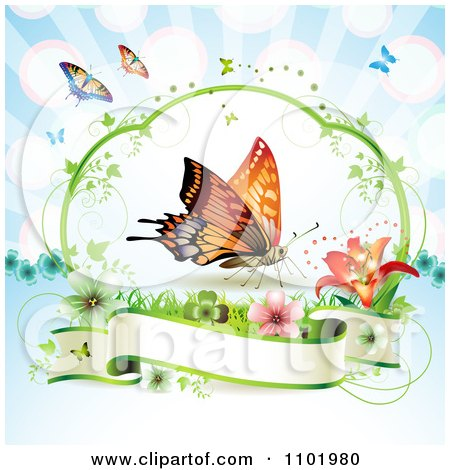 Clipart Orange Butterfly Over A Blank Banner Against Blue - Royalty Free Vector Illustration by merlinul