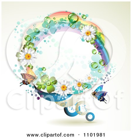 Clipart Round Rainbow Daisy And Shamrock Frame With A Butterfly - Royalty Free Vector Illustration by merlinul