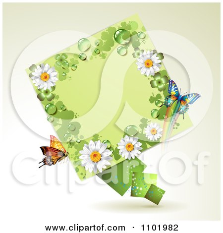 Clipart St Patricks Day Diamond With Shamrocks Daisies And Butterflies - Royalty Free Vector Illustration by merlinul