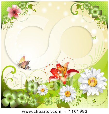 Clipart Orange Butterfly With Clovers And Daisies Around Copyspace 1 - Royalty Free Vector Illustration by merlinul