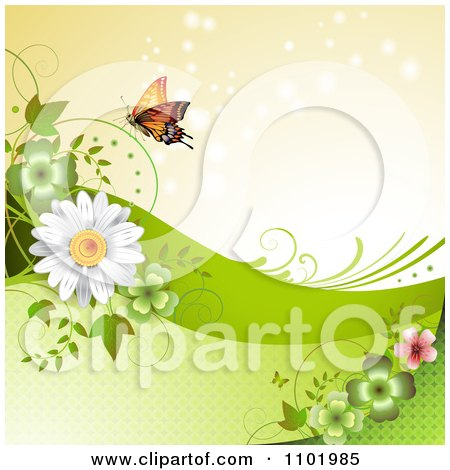 Clipart Orange Butterfly With Clovers And Daisies Around Copyspace 2 - Royalty Free Vector Illustration by merlinul
