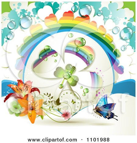 Clipart Blue Butterfly And Dewy Rainbow Clover With Lilies - Royalty Free Vector Illustration by merlinul