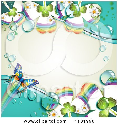 Clipart Butterfly And Dewy Rainbow Clover Background - Royalty Free Vector Illustration by merlinul