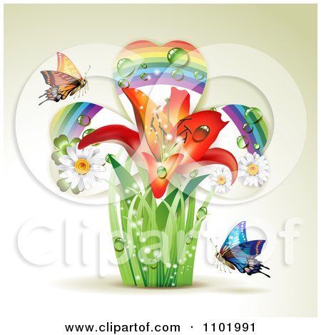 Clipart Lily Rainbow Shamrock Plant With Butterflies On Beige - Royalty Free Vector Illustration by merlinul