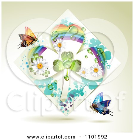 Clipart Rainbow Clover Shamrock Diamond With Butterflies On Beige - Royalty Free Vector Illustration by merlinul