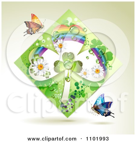 Clipart Green Rainbow Clover Shamrock Diamond With Butterflies On Beige - Royalty Free Vector Illustration by merlinul