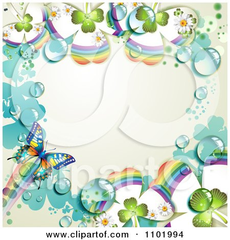 Clipart Butterfly And Dewy Rainbow Clover Background With Off White Copyspace - Royalty Free Vector Illustration by merlinul