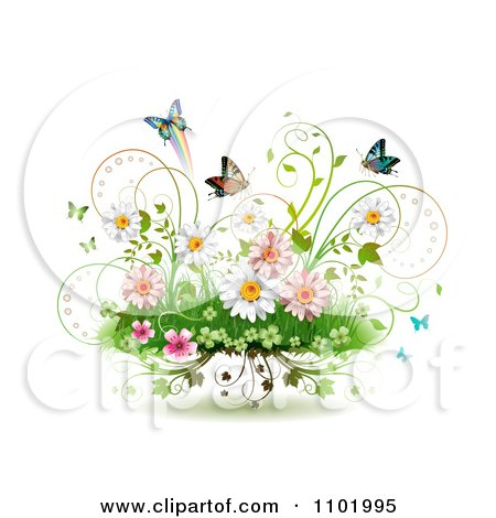 Clipart Spring Flowers Vines And