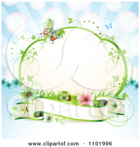 Clipart Blank Banner Under A Vine Frame With Butterflies And Flowers On Blue - Royalty Free Vector Illustration by merlinul