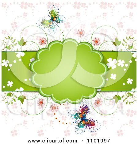 Clipart Spring Butterfly Background With A Green Frame And Flowers - Royalty Free Vector Illustration by merlinul