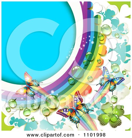 Clipart Spring Butterfly Background With A Dewy Rainbow And Clovers - Royalty Free Vector Illustration by merlinul