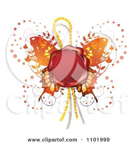 Clipart Red Wax Butterfly Seal - Royalty Free Vector Illustration by merlinul