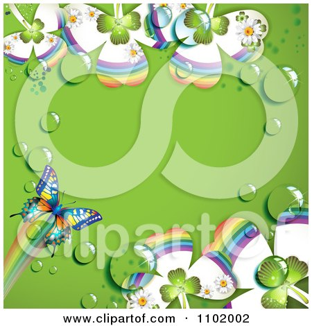 Clipart Butterfly And Dewy Clover Background With Green Copyspace - Royalty Free Vector Illustration by merlinul