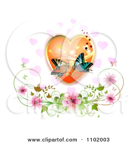 Clipart Kissing Butterflies Over A Floral Heart With Blossoms - Royalty Free Vector Illustration by merlinul