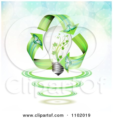 Clipart Butterfly Renewable Energy Arrows Around A Vine Light Bulb - Royalty Free Vector Illustration by merlinul