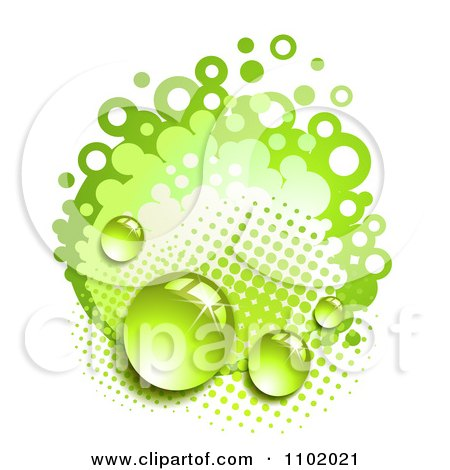 Clipart Dew On Green Halftone And Circles - Royalty Free Vector Illustration by merlinul