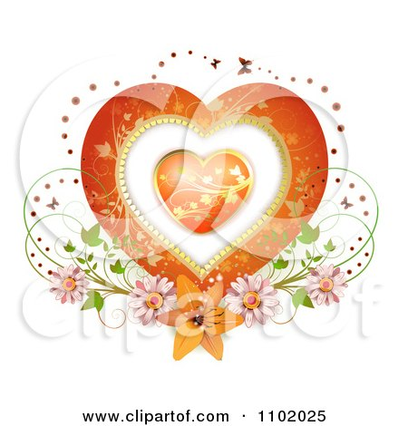 Clipart Heart Inside A Heart With Butterflies And Flowers On White - Royalty Free Vector Illustration by merlinul