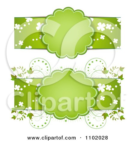 Clipart Green St Patricks Day Banners With Frames Vines And Shamrocks - Royalty Free Vector Illustration by merlinul