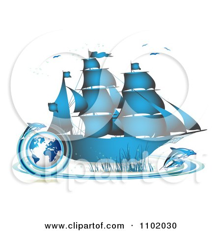 Clipart Blue Ship With Dolphins And A Globe - Royalty Free Vector Illustration by merlinul