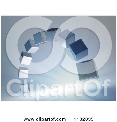 Clipart 3d Silver Cubes Forming An Arch Over Rays On Gray - Royalty Free CGI Illustration by Mopic