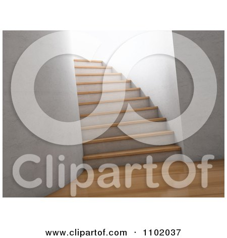 Clipart 3d Interior With Wooden Floors And A Staircase - Royalty Free CGI Illustration by Mopic