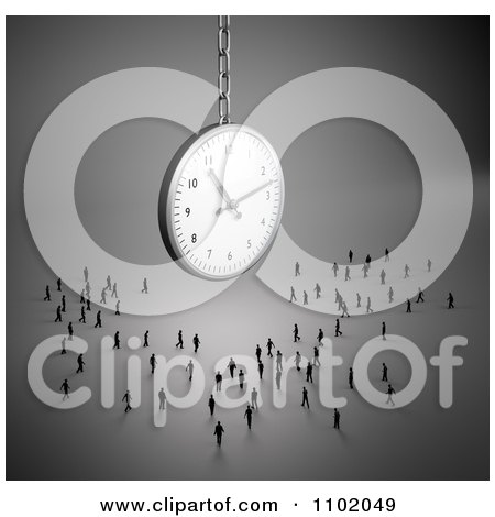 Clipart 3d Little People Standing Under A Suspended Clock - Royalty Free CGI Illustration by Mopic