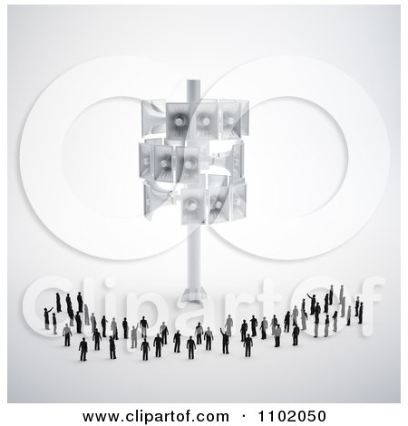 Clipart 3d Little People Standing Under A Megaphone Tower - Royalty Free CGI Illustration by Mopic
