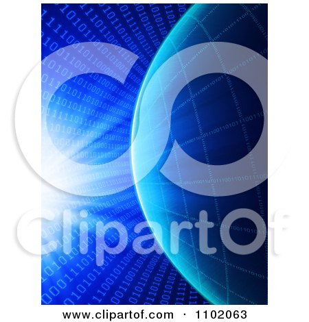 Clipart Bright Light And Coding Shining Down On A Binary Grid Globe Over Blue - Royalty Free CGI Illustration by Mopic