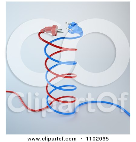 Clipart Red And Blue 3d DNA Electric Cables - Royalty Free CGI Illustration by Mopic