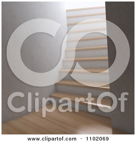 Clipart 3d Interior With Wooden Floors And A Steep Staircase - Royalty Free CGI Illustration by Mopic
