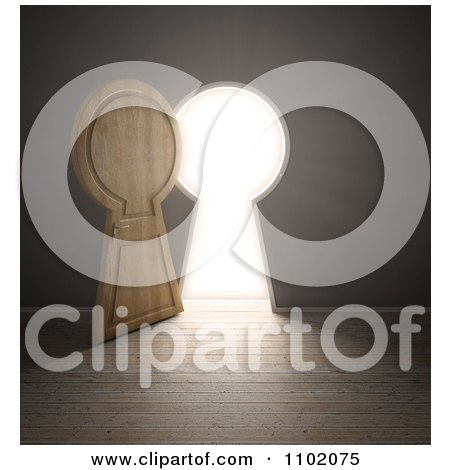 Clipart 3d Open Keyhole Door With Bright Light - Royalty Free CGI Illustration by Mopic