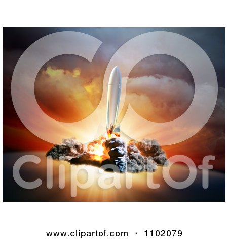 Clipart 3d Rocket At Take Off To Outer Space - Royalty Free CGI Illustration by Mopic