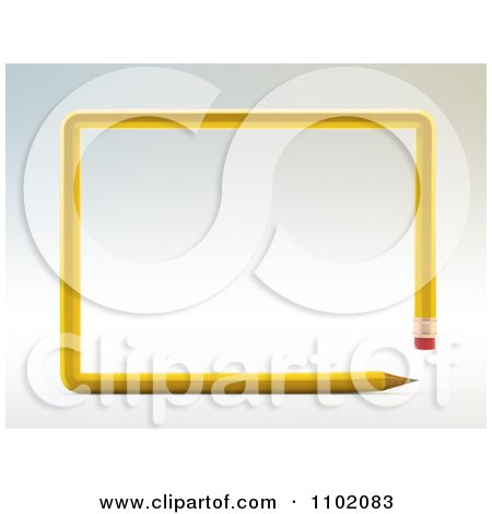 Clipart 3d Yellow Pencil Forming A Rectangle Frame - Royalty Free CGI Illustration by Mopic