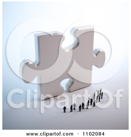 Clipart 3d Little People Standing In Front Of A Giant Silver Puzzle Piece - Royalty Free CGI Illustration by Mopic
