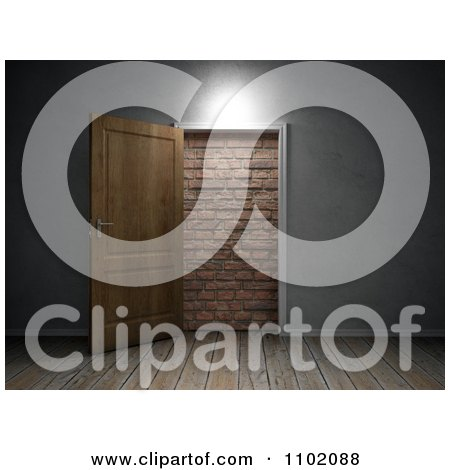 Clipart 3d Interior Of A Door Open To A Brick Wall - Royalty Free CGI Illustration by Mopic
