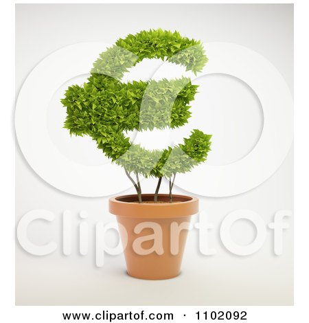 Clipart 3d Euro Shaped Potted Plant - Royalty Free CGI Illustration by Mopic