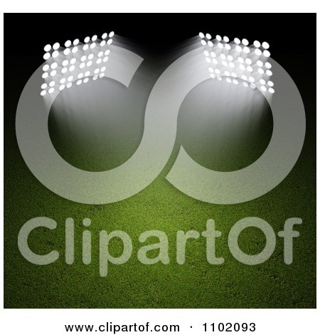 Clipart 3d Spot Lights Shining Down On A Sports Field At Night - Royalty Free CGI Illustration by Mopic