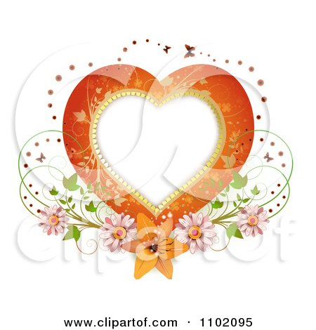Clipart Heart Frame With Butterflies And Flowers On White - Royalty Free Vector Illustration by merlinul