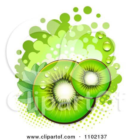 Clipart Green Kiwi Slices Over Halftone And Circles On White 1 - Royalty Free Vector Illustration by merlinul